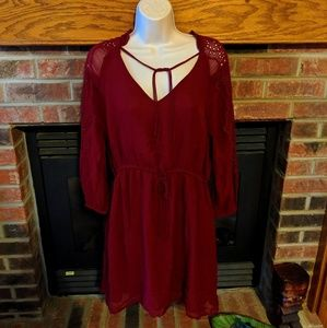Lucky brand new with tags deep red dress size L